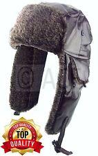 Mens Womens Pilot Aviator Faux Leather Ear Warmer Winter Faux Fur Trapper Hat