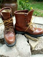 CABELA'S Brown Leather Work Combat Boots Women's Size 8.5 N Vintage Narrow Ankle
