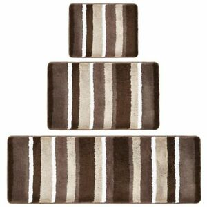 mDesign Striped Microfiber Bathroom Spa Mat Rugs/Runner, Set of 3 - Brown