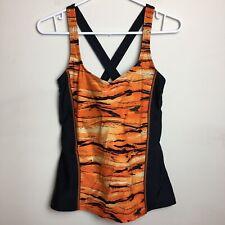 Roots Size 12 Swim Tankini Orange Black Bathing Suit Bikini Top