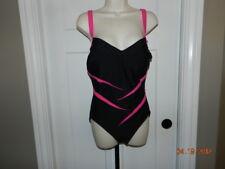 EUC CAROL WIOR SLIMSUIT Black/Hot pink Lined Swimsuit SZ 12