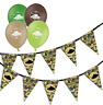 army green camouflage birthday bunting & assorted mix tank balloons pack of 5