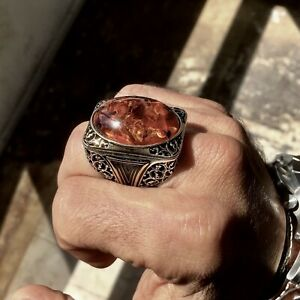 Sterling Silver Amber Men's Ring Elegant Extraordinary Statement Artisan Jewelry