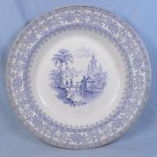 Valenciennes Blue Transferware Soup Bowl Wood Antique Transfer French Flanders