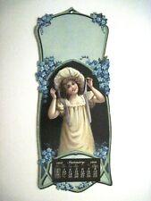 1910 Die Cut Sample Calendar w/ One Month January w/ Lovely Girl In Pretty Hat *