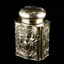 Antico Tedesco Lavorazione a Sbalzo da Tè Contenitore Barattolo 800 Argento