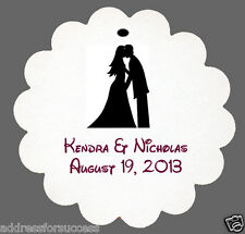 24 Personalized Wedding Silhouette Wedding Favors Scalloped Tags Party Favors