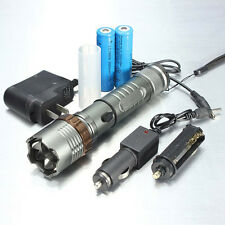 Tactical 5000Lumen XML T6 LED Zoom Flashlight Torch Lamp+18650 Battery+Charger