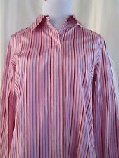 Doncaster Blouse Top Size 8 Silk 70% Cotton 30%  Pink Purple Striped Shiny