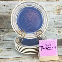 Pfaltzgraff RIO STONEWARE Concentric Blue Band Cream Salad Lunch Plates Set 6