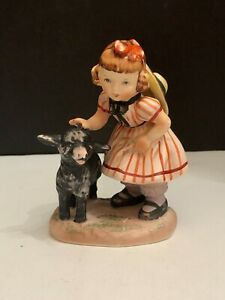 Vintage Lefton China Nursery Rhymes Baa Baa Black Sheep Figurine Made In Japan