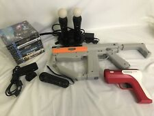 PS3 Playstation MOVE Bundle: 2 Controllers, Charger, 2 Guns, Camera, Games Lot