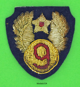 US Army 9th Air Force Theater-Made Bullion Patch -  Original WW2 WWII