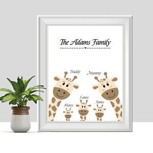 Personalised Family Print, Giraffe Housewarming Gift, Mum, Mothers Day, Custom