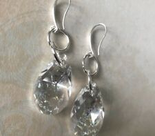 Stunning Droplet Earrings Made With Swarovksi White Patina Droplet Charms