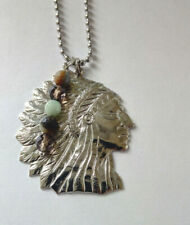 American Indian Chief Necklace With Stone Charm on 80 cm  chain.