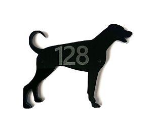 Doberman Pinscher Dog Door House Number Sign Plaques in Black