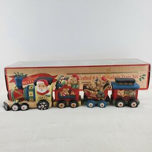 COLLECTIBLE SANTA & BEARS EXPRESS PORCELAIN TRAIN SET-ENGINE, 2 CARS AND CABOOSE