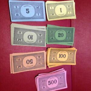 Monopoly Vintage 70 Plain Back Notes Bank Money - 60/70/80'S Spare / Replacement