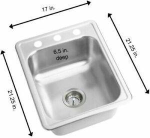 Elkay Drop-In Kitchen Bar Sink Stainless Steel 3-Hole Rectangular 21.25 x 17