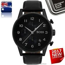 New Hugo Boss Mens Navigator Watch All Black Ion Plated Steel & Leather 1513497