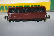 Minitrix 13538 2-Achser Hochbordwagen Omm46 DB mit Kohleladung Spur N OVP