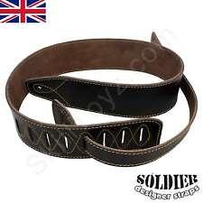 Soldier designer Adjustable Leather Guitar Strap Brown +plus 2 FREE strap locks!