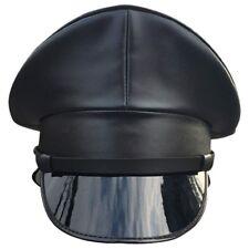 353226e7bd4b2 Bar Military Sercurity Captain PU Leather Black Hat Stage Performance Prop  Cap
