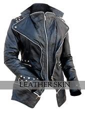 Women Black Studded Genuine Leather Stud Jacket w/ Multiple YKK zippers
