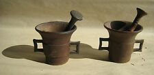 Qty of 2 Rare Antique Primitive 19th Century Apothecary Brass Mortar & Pestle