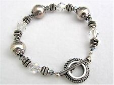"#5299 - 7"" BRACELET MAKE WITH SWAROVSKI CRYSTALS & RUSTIC ANTIQUED SILVER BEADS"