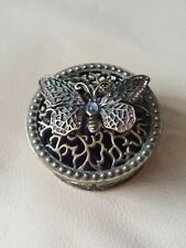 Pretty Vintage Gold Tone Metal Butterfly Design Trinket Pot With Purple Stones