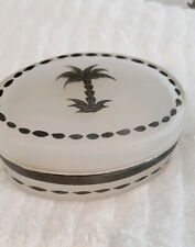 Casafina Covered Soap Dish Glass Lid Frosted Pewter Trim