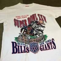 1991 Super Bowl XXV Buffalo Bills and New York Giants Vintage T-Shirt S-2XL A136