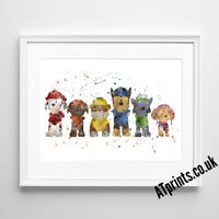 PAW PATROL Print Poster Watercolour Watercolor Framed Canvas Wall Art Gift