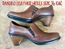DANSKO Size 36 6 Smooth Brown Leather Clogs Slip On Comfort Shoes Wedges Elastic