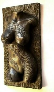 Sexy Erotic Female Nude Torso Tribal Tattoo Iron Wall Sculpture Home Room Decor
