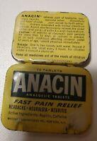 Vintage 1950/60s ANACIN ASPIRIN Medicine TIN Whitehall Pharmacal NY  -- 1951