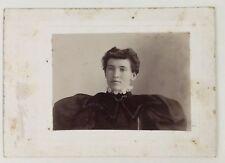 Antique Cabinet Card Photo Woman Portrait Victorian 6x4 Wide Shoulders Fashion