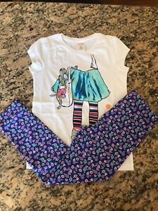 Gymboree Girls Ballerina Tee w/ Multi-Color Floral Leggings NWT GYM12