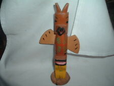 Alaska Tribal Totem Pole hand carved hand painted wood 8 in. tall