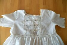 Antique 1910 Child's Ivory Cotton Dress Lace Inserts Cutwork Embroidery Stains