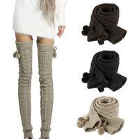 Women Girls Fashion Winter Leg Warmers Cable Knit Knitted Crochet Socks Leggings
