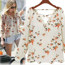 L Sexy Women's Loose Chiffon V-Neck Tops Long Sleeve Shirt Casual Blouse