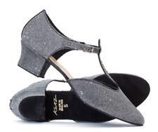 Ladies Girls Graphite Glitter Cuban Heel Dance Greek Sandal Ballroom Shoe Katz