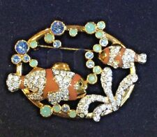 SWAROVSKI CRYSTAL CLOWN FISH BROOCH PIN