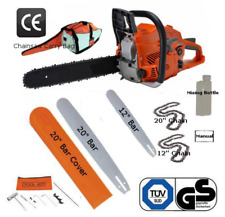"""Petrol Chainsaw WITH 12"""" & 20"""" Chains & Bars Cover Saw"""