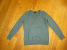 Ladies Talbots Green 100% Cashmere V Neck Sweater Size Small Petites