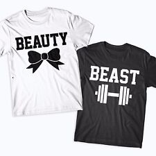 BEAUTY and BEAST COUPLES TSHIRTS FUNNY NOVELTY GYM CUTE MATCHING HIS AND HERS