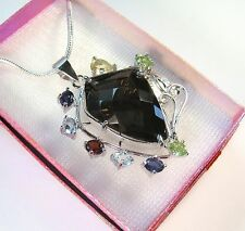 SMOKY QUARTZ & 4.84 CTW FANCY GEMSTONE NECKLACE 14k WHITE GOLD-plated 925 SILVER